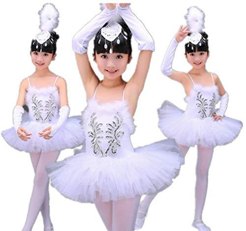 SMACO Professioneller White Swan See-Ballett Tutu Kostüm Mädchen-Kind-Ballerina-Kleid-Kind-Ballett-Kleid Tanzkleidung Tanzkleid für Mädchen,100CM