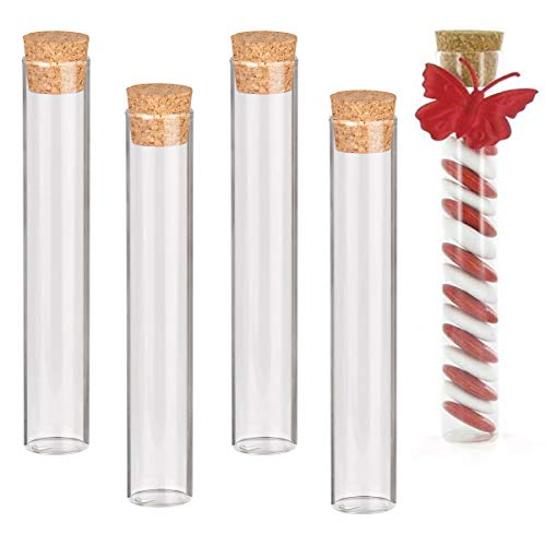 Reagenzgläser Kunststoff, 20 Stück Transparent Reagenzglas mit Korken für M&Ms Peanut Butter und Gastgeschenke Hochzeit(105 * 18mm 18ml)