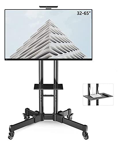 Soporte para TV móvil con ruedas de 42 – 90 pulgadas, televisores curvados planos de hasta 50 kg, carrito de TV enrollable, altura ajustable (color: negro)