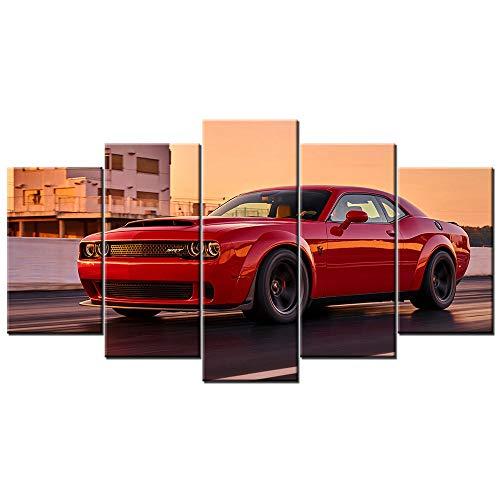 65Tdfc Leinwanddrucke Modulare Bilder Wandkunst Hd-Drucke 5 Stück Challenger SRT Demon Supercar Leinwand Malerei Home Bedside Decor Poster