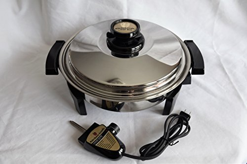 """WEST BEND KITCHEN CRAFT T304 Stainless Steel LIQUID CORE 11 ½"""" inch ROUND OIL CORE ELECTRIC SKILLET AMERICRAFT LUSTRE CRAFT WATERLESS HEALTH COOKWARE – MADE IN USA"""