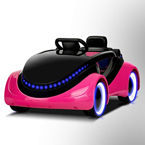 Uenjoy Electric Kids Ride On Cars Battery Motorized Vehicles with Remote Control, LED Lights, Music, Story Playing, Safety Lock, Pink