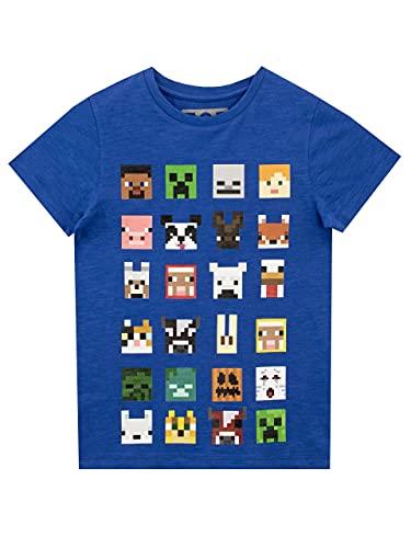 Minecraft Jungen T-Shirt Kurzarm, Blau, 9-10 Jahre