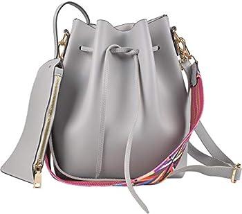 QZUnique Handbag Set Women s PU Leather Drawstring Bucket Bag Crossbody Shoulder Bags Purses Set With Colorful Strap Grey