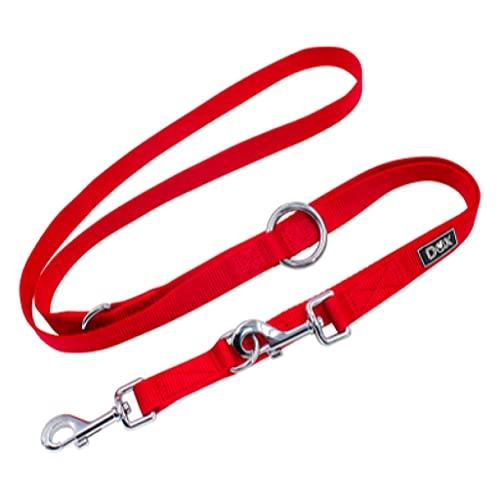 DDOXX Guinzaglio Addestramento per Cani in Nylon, Regolabile in 3 Modi, 2m | Cani Piccoli e Grandi | Doppio Guinzaglio Gatti Cani Cuccioli | Accessori Cani | Rosso, XS