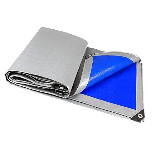 Lona Tewango Plata + Azul Recubierto Resistente al Agua Lona Alta Resistencia for Exteriores Lluvia Bloque Toldo de Vela Patio Camión película de la Cubierta 180GSM (Color : 3M X 4M)