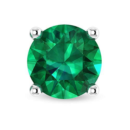Pendiente de esmeralda solitario de 1,6 ct, clásico, redondo, con piedras preciosas, para novia, declaración de boda, oro de 14 quilates, joyería fina, regalo para mujeres, tornillo hacia atrás