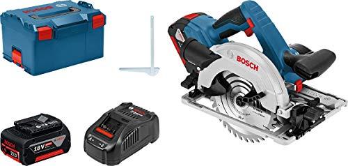 Bosch Professional 18V System Akku Kreissäge GKS 18V-57 G (Sägeblatt-Ø: 165 mm, Schnitttiefe: 57 mm, 2x 5.0Ah Akkus und Ladegerät, in L-Boxx)