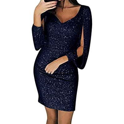 Muranba Womens Dresses Sexy Solid Sequined Stitching Shining Club Sheath Long Sleeved Mini Dress