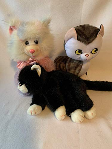 Weighted stuffed animal, cat sensory toy with 2-3 lbs, AUTISM WEIGHTED PLUSH, white fluffy, black, stripe