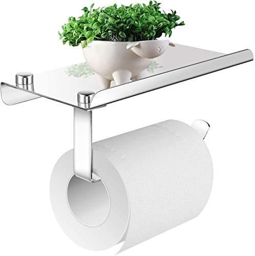 PHYSEN Porte-Papier Toilette avec Support pour téléphone Portable , Support Papier Rouleau sans Percage Derouleur Papier WC, Acier INOX SUS 304, Colle Auto-adhésive et Mural pour Salle de Bain