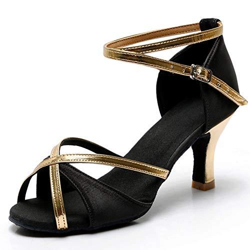 TRIWORIAE-Zapatos de Baile Latino de Tacón Alto/Medio para Mujer Negro 41(Tacón 7cm)