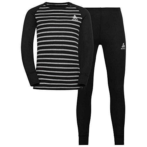 Odlo Unisex Kinder Active Warm Eco Anzug, Black-Grey Melange-Stripes, 164