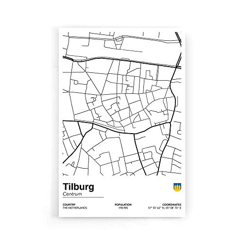 Stadskaart Tilburg Centrum II - Walljar - Muurdecoratie - Poster