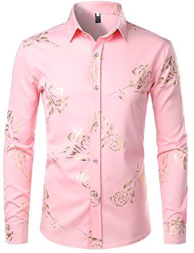 ZEROYAA Mens Hipster Gold Rose Printed Slim Fit Long Sleeve Dress Shirts/Prom Performing Shirts Z56 Pink Small