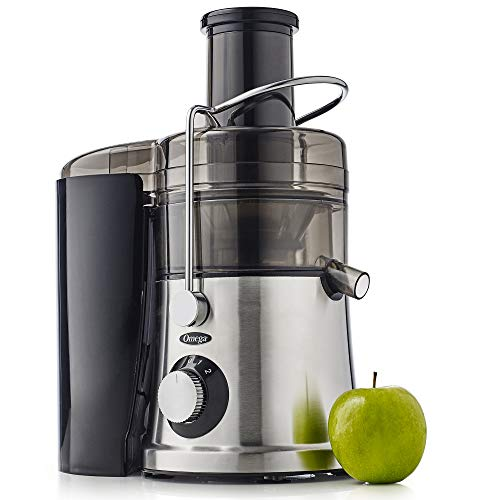 Omega C2100S High Juicer with Extra Large Three-Inch Chute Extracts Juice from Whole Foods & Includes A Stainless Steel Filter & High Low Speed Settings, 3, Silver