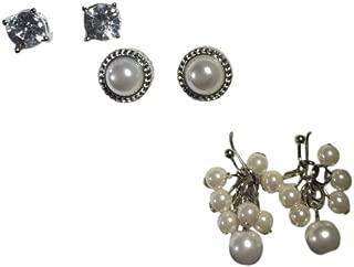 Croft & Barrow 3 Pr Simulated Crystal & Simulated Pearl Stud & Dangling Cluster Earring Set