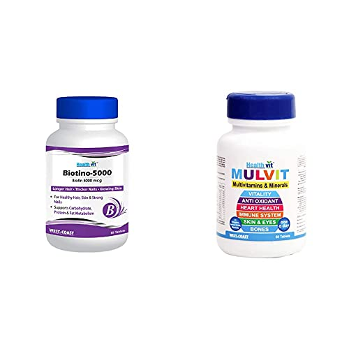 Healthvit Biotino-5000 Biotin 5000 mcg for Longer Hair, Glowing Skin and Thicker Nails - 60 Tablets (Pack Of 1) and Healthvit Mulvit Multivitamins and Minerals with 31 Nutrients - 60 Tablets