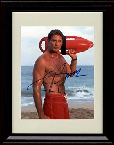 Framed David Hasselhoff Autograph Replica Print - Baywatch - No Shirt