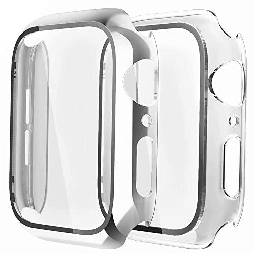 Fengyiyuda Hülle Kompatibel mit Apple Watch 38/42/40/44mm mit Anti-Kratzen TPU Panzerglas Bildschirmschutz Schutzfolie,360°Schutzhülle für iWatch Series 6/5/4/3/2/1/SE,2 Stück,Silver/Clear,44mm