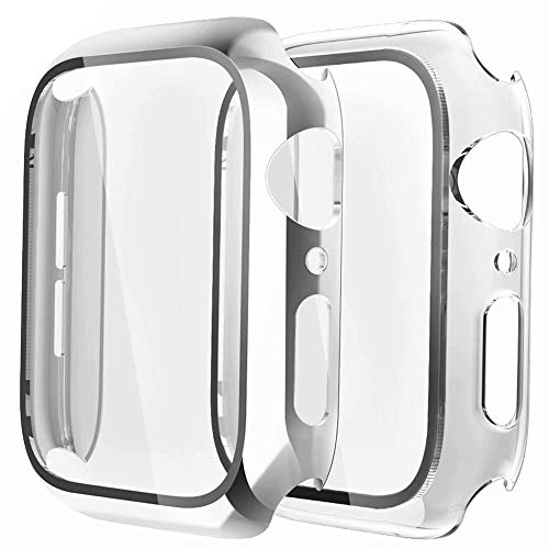 Fengyiyuda Cover[2-Pezzi] Compatibile con Apple Watch Custodia 38/40/42/44mm con Anti-Bubble TPU Pellicola Protettiva,Vetro Temperato,360 Rugged Case per IWatch Series se/6/5/4/3/2/1-Silver/Clear