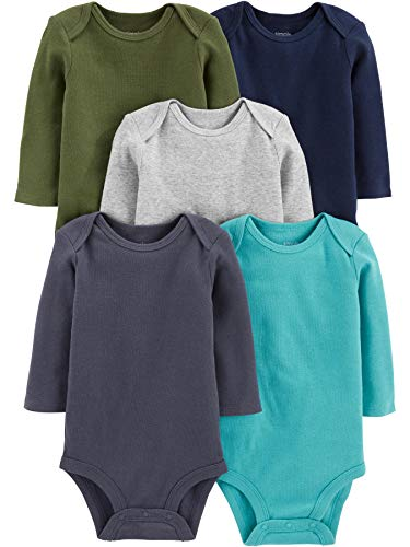 Simple Joys by Carter's 5-Pack Long-Sleeve infant-and-toddler-bodysuits, Solids, Newborn