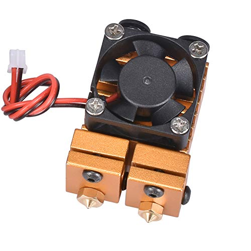 BGGZZG 3D Printer/Fit For Chimera Hotend Kit Dual Color 2 IN 2 OUT Extruder Multi-extrusion All Metal V6 Dual Extruder 0.4mm/1.75mm Parts (Color : Gloden, Size : 12V)