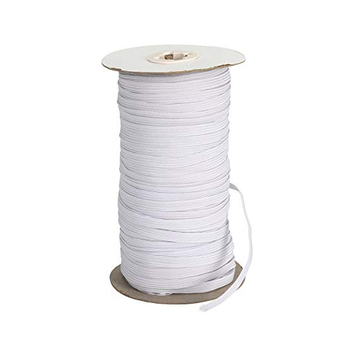100 Yards Elastic Band Roll - 1/3 Inch Flat Elastic Cord High Elasticity Knit Spool Drawstring Rope for Sewing Crafts(White)