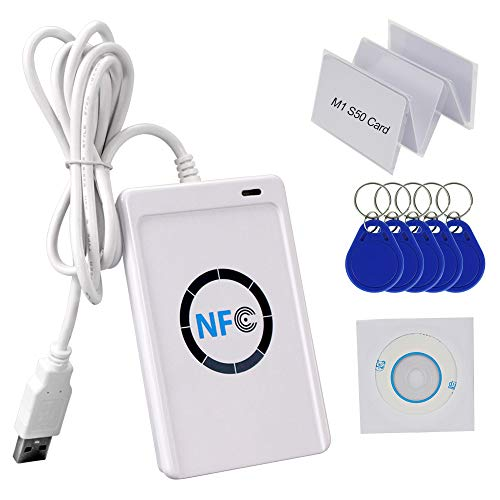 HFeng 13,56 MHz RFID Kopierer Kartenleser Writer NFC Programmierer USB + Kostenlose SDK-Software + 5 teilige S50 MF-Karten + 5 teilige UID beschreibbare Schlüsselanhänger ACR122U