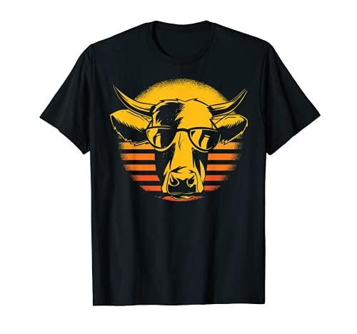 Vaca cabeza de vaca gafas de sol retro agricultor Camiseta