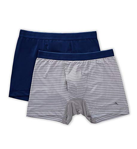 Tommy Bahama 2-Pack Mesh Tech Boxer Briefs Solid Navy/Grey Stripe XL (38-41' Waist)