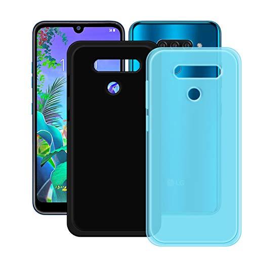 YZKJ Capa azul + capa preta para LG K12 Max, luz de absorção de choque, mas durável, flexível, gel macio, azul, capa de proteção de silicone TPU para LG K12 Max (6,2 polegadas)