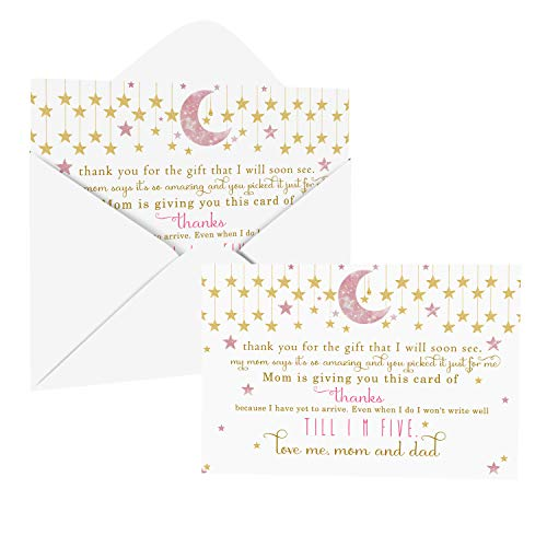 Twinkle Little Star Baby Shower Thank You Cards with Envelopes (25 Pack) Pink and Gold – Celestial Moon Theme - Thank You Note from Baby Girl - Flat Stationery Set (4 X 6 inches) Paper Clever Party