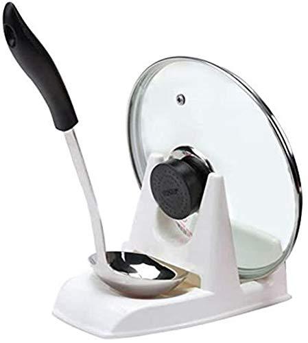 GCX Soporte para tapa de olla, tapa y cuchara, tapa de olla, estante de soporte para cuchara, organizador de almacenamiento de sopa, cuchara de cocina, soporte impermeable