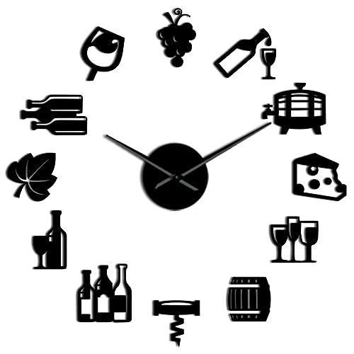 Lianaic Reloj de ParedUvas Vino Alcohol 3D DIY Reloj de Pared Barrido silencioso Amante del Vino Cocina Decoración de Pared Acrílico Efecto Espejo Reloj Reloj