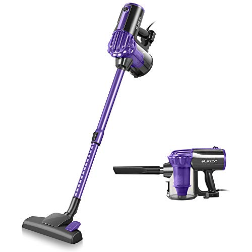 elezon E600 Vacuum Cleaner, 17KPa Powerful Suction Stick and Handheld 2 in 1 Bagless Lightweight Vacuum Cleaner with 2 HEPA Filters 23ft Corded, Purple