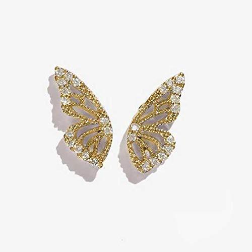 xingguang Pendientes de plata de ley 2020 con diamantes de imitación de oro rosa y oro rosa para mujer, lindos pendientes de cristal pequeños (color metálico: oro)