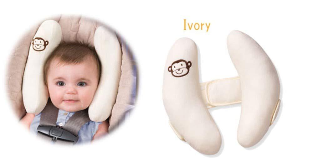 Soporte en Cochecito BGG Almohada Cervical Cervical con peque/ño Mono sonajero para beb/é y ni/ño a Partir de 6 Meses Asiento de Coche o Coche Blanco