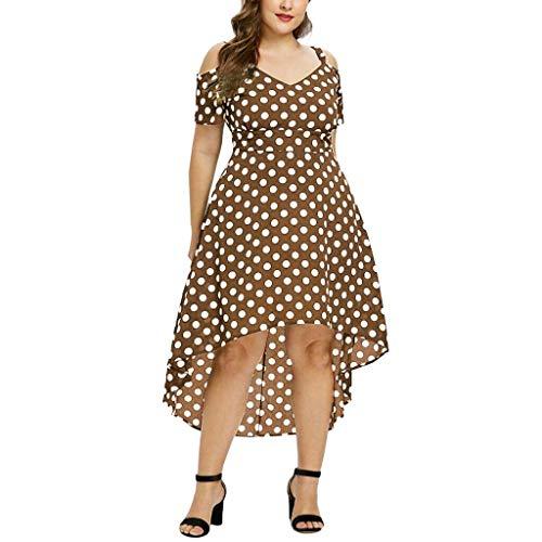 LEXUPE Mode Frauen Plus Size V-Ausschnitt Polka Dot Caims Kalte Schulter Kurzarm Kleid(Kaffee,XXX-Large)