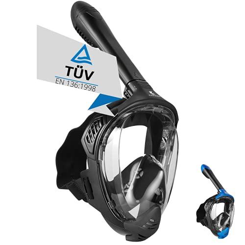 Khroom® TÜV geprüfte CO2 sichere Schnorchelmaske [NEUZUGANG] Vollmaske Modell 2021 -Tauchmaske für Erwachsene und Kinder | Vollgesichtsmaske zum Schnorcheln (Matt Schwarz, L-XL)
