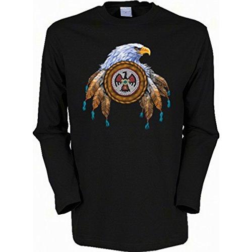 Adler Indianer Indianistik Perlenstickerei Eagle Langarmshirt Herren Gr XXL in schwarz