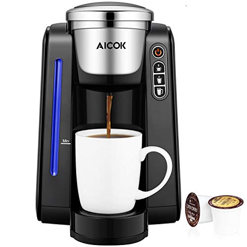AICOK Single Serve Programmable Coffee Maker, 5 Brew Sizes One Cup Coffee Machine for Most Single Cup Pods Including 1.0&2.0 K-CUP pods, 45 OZ Large Removable Water Tank, Quick Brew Technology