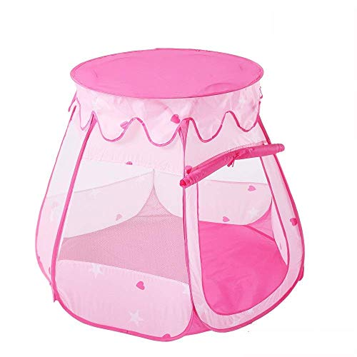 WY-YAN Children Play Tent Boys Girls Pink Six-sided Mesh Breathable Tent Toddler Indoor Cute Foldable Princess Large Playhouse Teepee Toys for Girls/Boys Kids (Color : Pink, Size : 110x110x82cm)