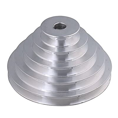 BQLZR 54mm to 150mm Outter Dia 16mm Bore Width 12.7mm Aluminum 5 Step Pagoda Pulley Belt for A Type V-Belt Timing Belt