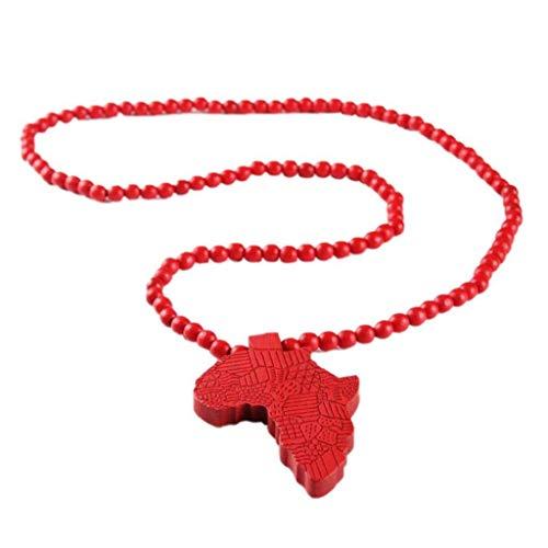 Unisex Holz Afrika-Karte Halskette Afrikanische Karte Anhänger-Halskette Afrika Hip-hop-Ketten