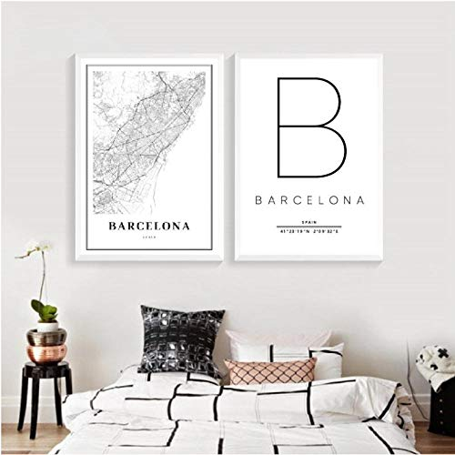 Barcelona Map Print Spain Espana City Street Road Map Poster Modern Canvas Painting Black White Picture Office Wall Art Decor 50x70cmx2 zonder frame
