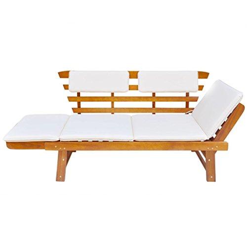 Tidyard 2-in-1 Gartenbank Holzbank Sonnenliege Liegestuhl mit Auflage, Multifunktionsbank Sitzbank Gartenliege Gartensofa 2 Sitzer für Garten Terrasse Schwimmbad, Verstellbar