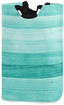 senya Teal Turquoise Green Wood Laundry Basket Collapsible Laundry Hamper with Handle Foldable product image