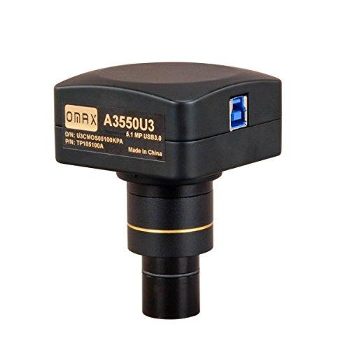 OMAX - A3550U3 5MP USB3.0 Digital Camera for Microscope with 0.01mm Calibration Slide (Windows 8 & 10, Mac OS X, Linux Compatible)