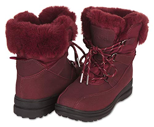 Floopi Womens All Weather Cold Resistant Insole Fur Lined Laced Mid Calf Winter Boots (9, Burgundy-204)